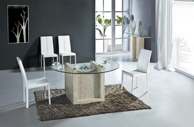Natural Travertine Dining Table Set Luxury High Quality Natural Store Marble Dining Furniture Round Table NB-172