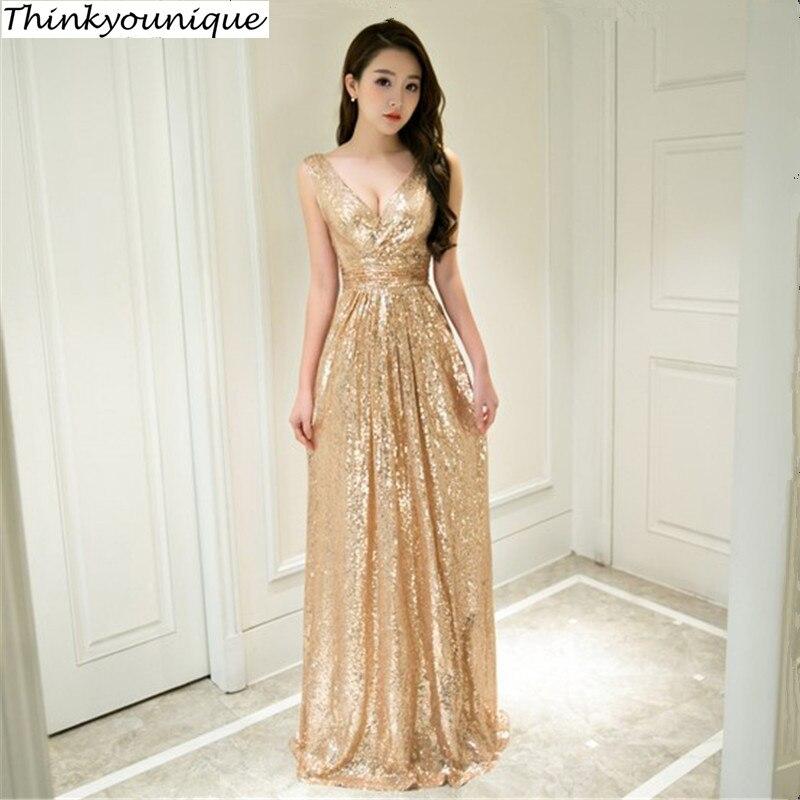 Col en V robes de festa Vintage paillettes a-ligne longues robes de soirée Abendkleid robe de soirée robe de mariage TK792