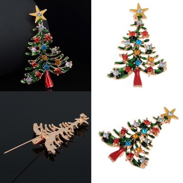 732a761d8da Fashion Hot Sale Tree Brooch Christmas Present Retro Full Rhinestone  Crystal Collar Brooches Safety Pins For