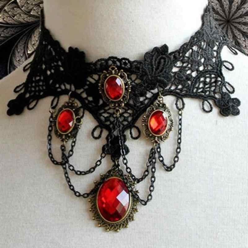 ויקטוריאני גותי שחור תחרה קולר ליל כל הקדושים אדום ריינסטון קסמי ערפד מקסי שרשרת קוקטייל ערב המפלגה שמלת תכשיטים