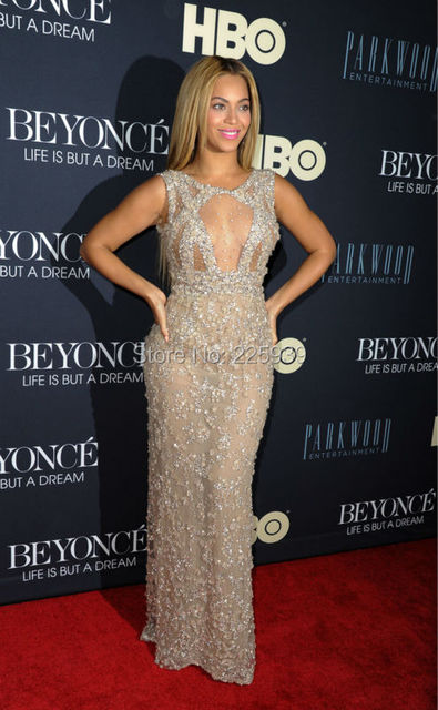 Beyonce Sexy Durchsichtig Top Promi Abendkleider O Ansatz ...