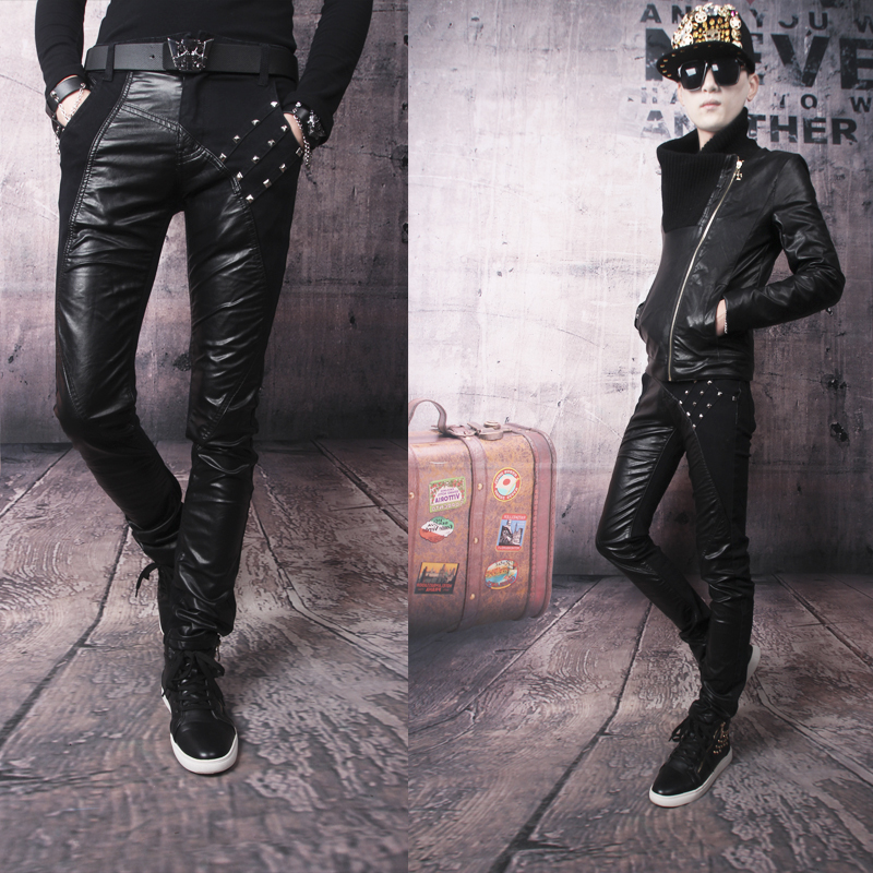 Hot sell Free shipping black splice leather pants mens slim patchwork pu trousers thickening tights and