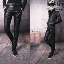 Hot sell ! Free shipping black splice leather pants mens slim patchwork pu trousers thickening tights and rivets pant male