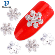 Blueness 10Pcs Alloy 3D Nail Art Stickers White Snowflakes Christmas Glitter Nail Gel Tools DIY Rhinestone