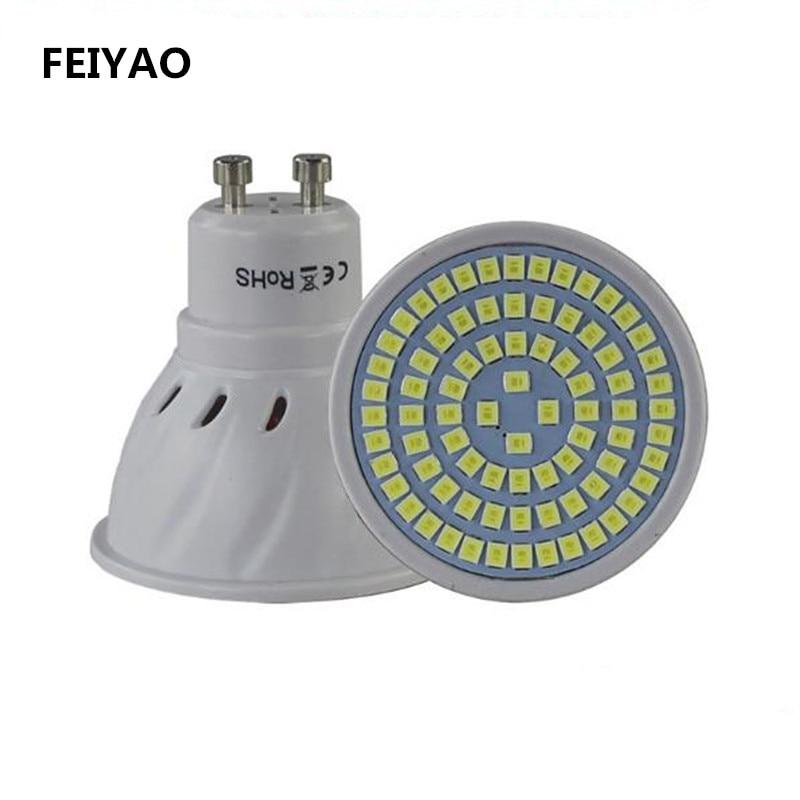 FEIYAO супер яркий GU10 лампада светодиодные лампы 220 В Bombillas светодиодные лампы 48 60 80 светодиодов 2835 SMD энергии Сохранение дома Lighitng