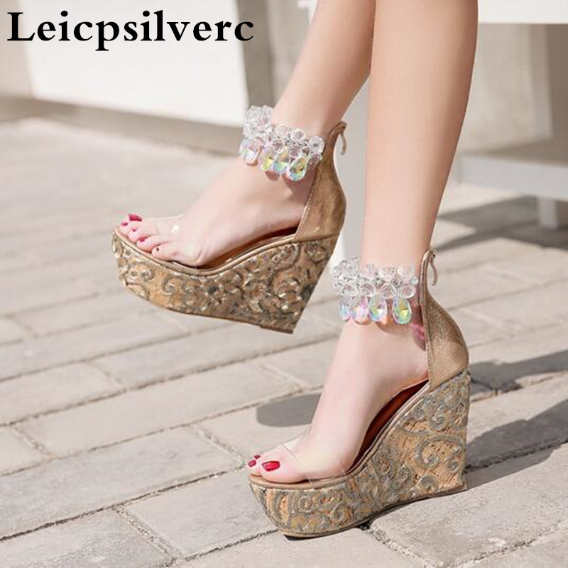 Summer New Diamond Beads Embroidered Slopes Thick Bottom High Heeled Women Sandals
