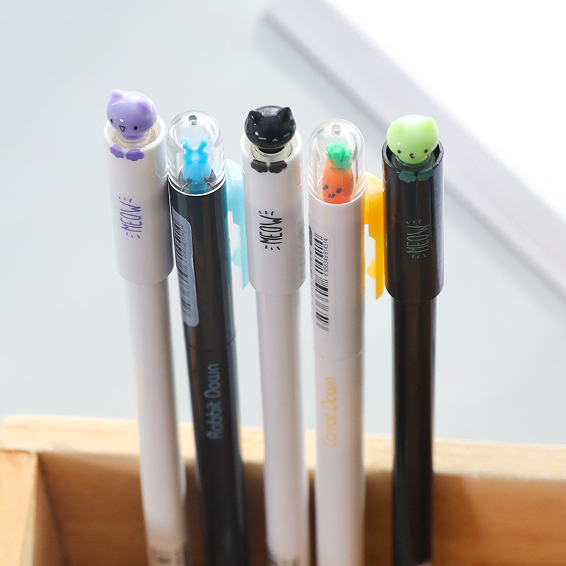 4 Pcs/Lot Cute Carrot Rabbit Black Ink Gel Pen Lucky Cat Kawaii Stationery Zakka Office Material Escolar School Supplies