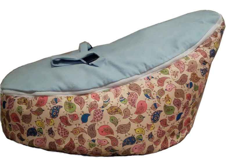 blue birdie baby bean bag/ baby bed bag/ baby sleeping bag -