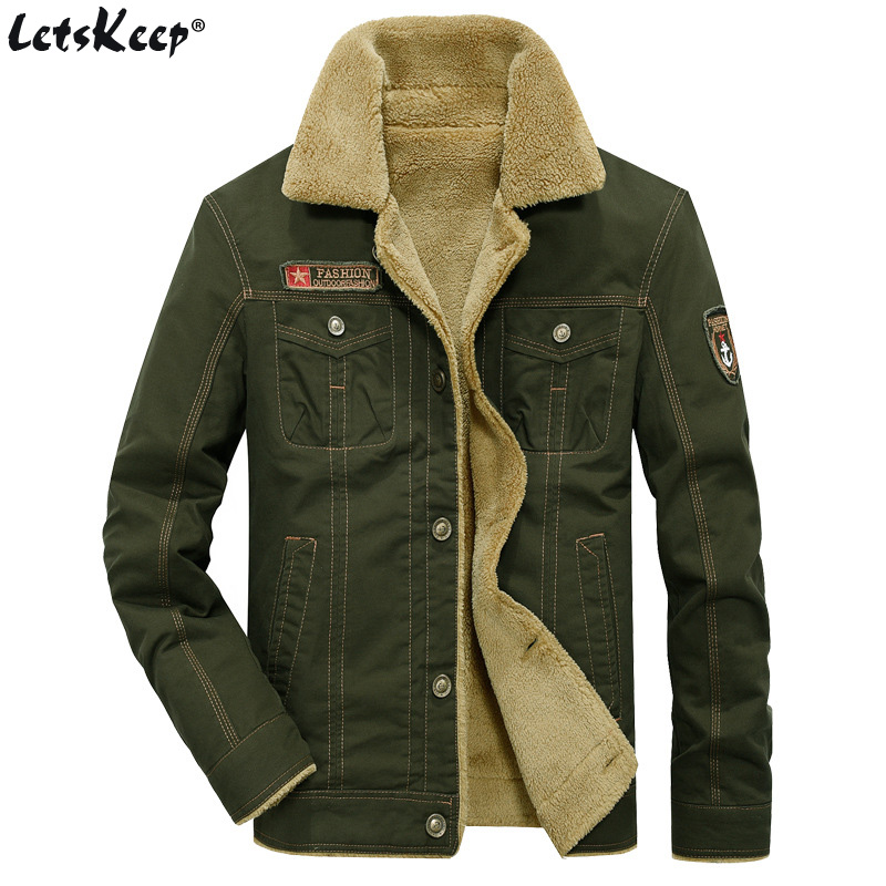 LetsKeep зима бомбардувальник пілот куртки чоловіків армії верхній одяг тактичні куртки чоловічі бавовна товсті хутряні комір теплі пальто 5XL, MA234