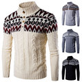 Winter Fashion Nation Style Christmas Mens Sweaters Turtleneck Slim fit Long sleeve Spiral Knitted Casual Pullover Men Sweater