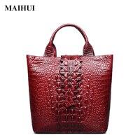 Maihui Women Leather Handbags High Quality Cowhide Real Genuine Leather Bags 2017 New Fashion Crocodile Grain