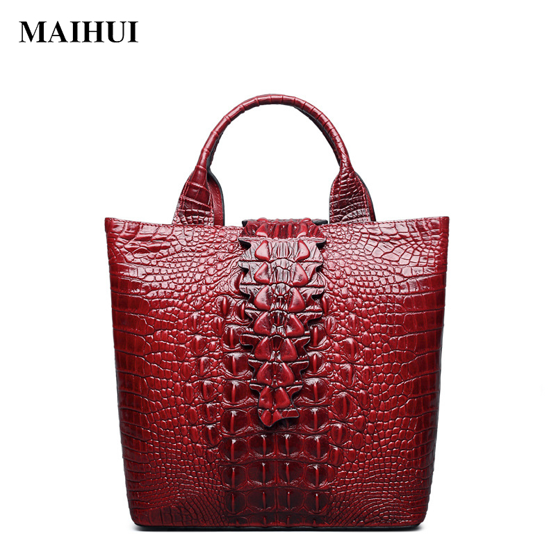 Maihui Women leather handbags high quality cowhide real genuine leather bags 2017 new fashion crocodile grain shoulder tote bags 2017 autumn and winter new genuine leather women handbags crocodile grain first layer of cowhide female shoulder messenger bags
