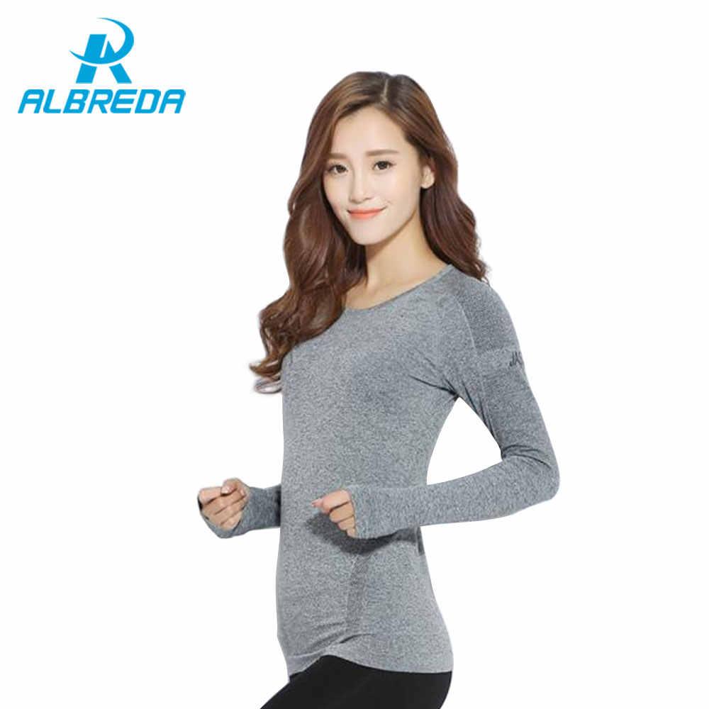 Albreda Vrouwen Yoga Top Fitness Kleding Vrouwelijke Sport Yoga T-shirt Workout Elastische Strakke Running Tees Gym Quick Dry Lange mouw