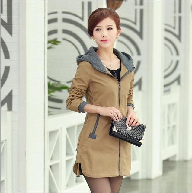 2015 Spring and Autumn hot new fashion women coat jacket Overcoat Slim large size M-5XL