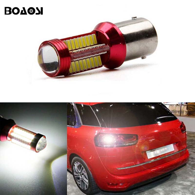 BOAOSI 1x 1156 P21W BA15S CREE Chips No Error Car LED Reverse Bulb Rear Light For Citroen C2 C3 C4 C8 Elysee Picasso ZX boaosi 2x error free led bulbs for backup reverse light 1156 p21w ba15s r5 cree chip for volvo v50 v60 v70 xc90 xc60 s80 s40 c30