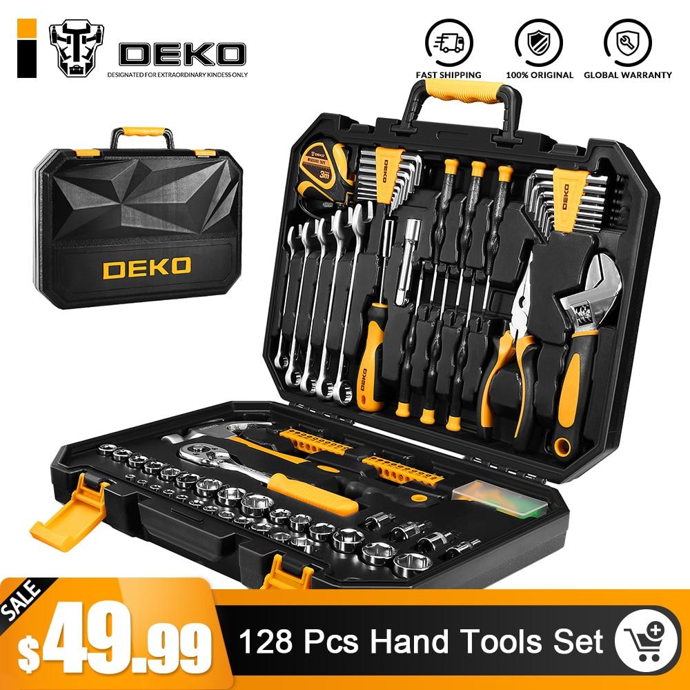 DEKO 128 piezas conjunto de herramientas de mano General hogar Kit de herramienta de mano de plástico con caja de herramientas de almacenamiento llave destornillador cuchillo