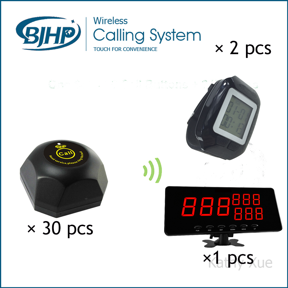 Hot-Selling Restaurant Wireless Waiter Buzzer Call Button System ( 1 Display +2 Black Watch Pager +30 Black Table Call Bells) restaurant pager watch wireless call buzzer system work with 3 pcs wrist watch and 25pcs waitress bell button p h4