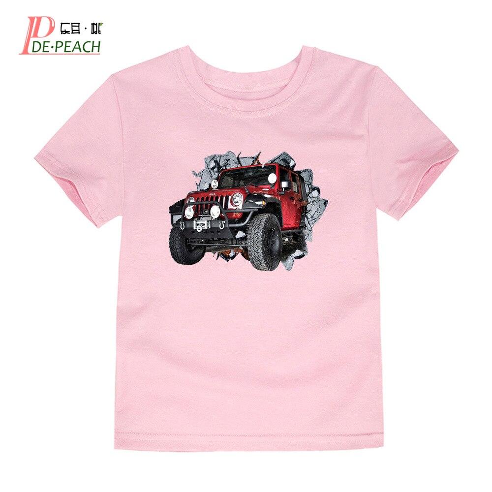 Children Boys Jeep Printing T Shirts Summer Cotton Boy