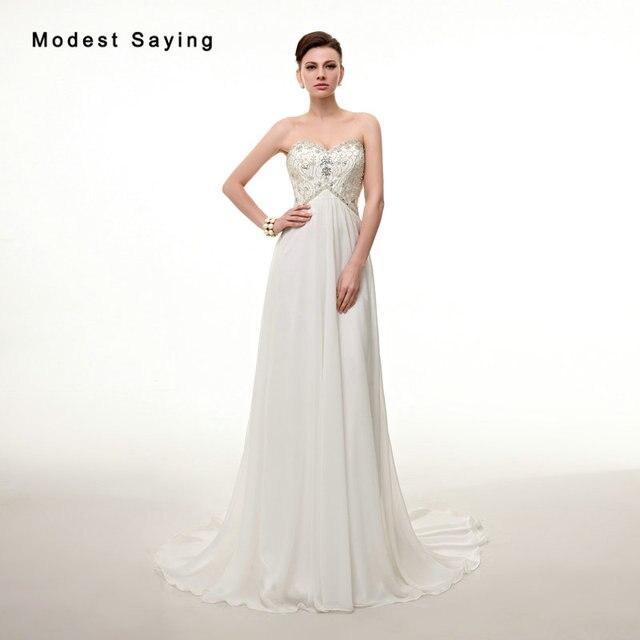 Elegant Ivory Beaded Pregnant Wedding Dresses 2017 with Rhinestone ...
