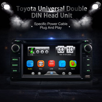 Car Universal 2Din Dash DVD Player GPS Radio BT Head Unit Stereos with Camera For Toyota RAV4 COROLLA EX CAMRY CELICA MR2 image