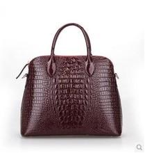 2015 crocodile pattern genuine leather women fashion handbag female patent leather tote bag designer brand casual shoulder bag
