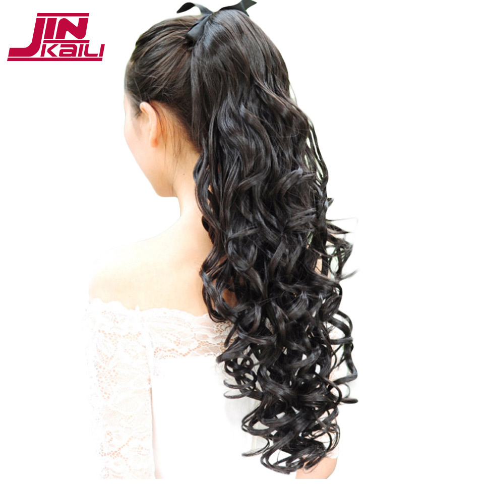 JINKAILI WIG Binding Tie up Synthetic Ponytail Heat Resistant One Piece Drawstring Ponytail Long Wavy Curly Soft Silky for Women ...