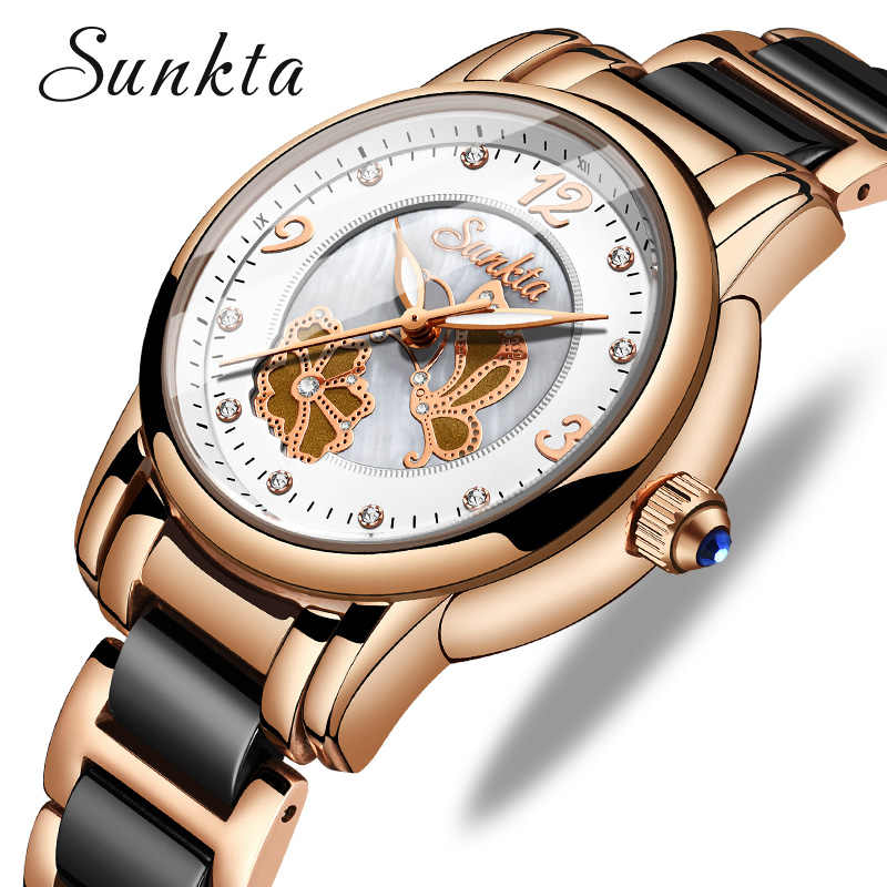 SUNKTA יוקרה נשים שעון נירוסטה אופנה עיצוב צמיד שעונים גבירותיי שעוני יד שעון Relogio Feminino Montre Femme