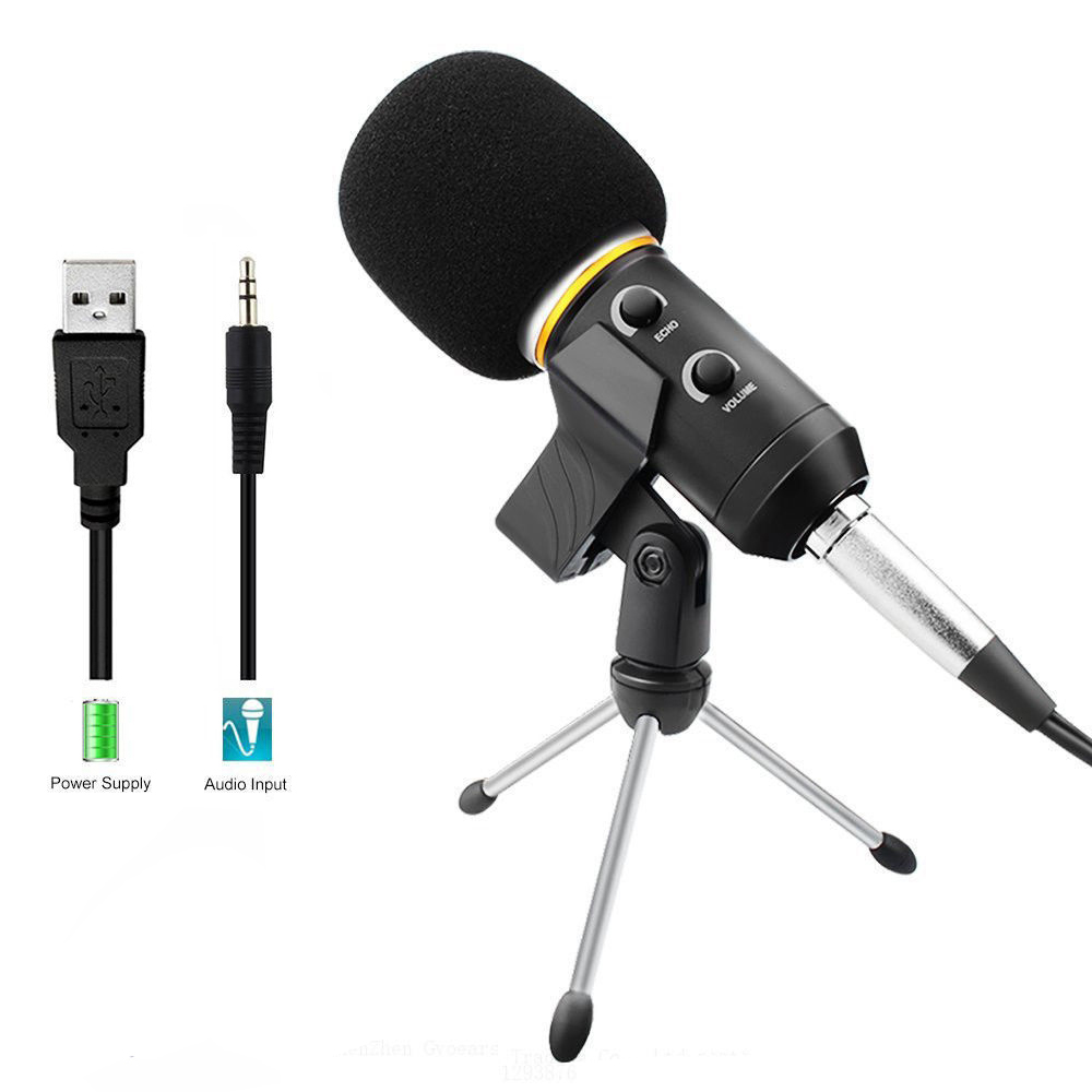 professional microphone wired recording usb condenser microphones with tripod for computer. Black Bedroom Furniture Sets. Home Design Ideas