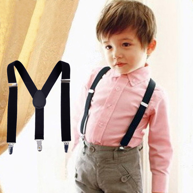 Children Black Suspenders 3 Clip Adjustable Shirts Kids Suspenders