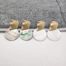 Minimalist Natural Shell Earrings Gold Irregular Geometric Round Pendant Large for Women Fashion Jewelry W685