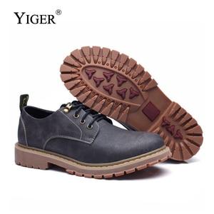 Image 4 - YIGER חדש גברים של פנאי נעלי גברים מקרית שרוכים נעלי גדול גודל נגד החלקה ללבוש עמיד גומי סוליות גברים של נעליים שטוחות 0075