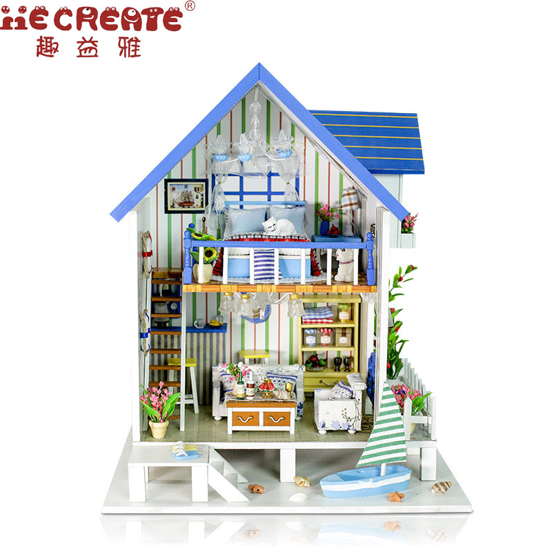 Hot Sale DIY Doll House Wooden DIY Home Toy Doll House With Furniture LED Lights Birthday Gift   Gulf of Venice With Dust Proof shakespeare w the merchant of venice книга для чтения