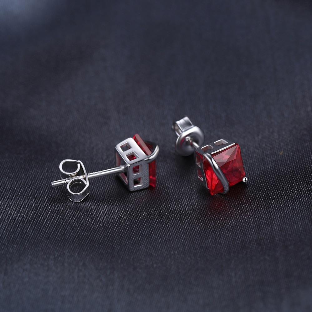 JewelryPalace Klasični trg 2.8ct Stvoren Crveni Ruby Stud Naušnice - Fine nakit - Foto 4