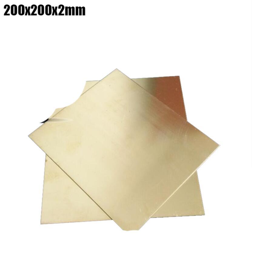 200x200x2mm haute ténacité en laiton plaque Rivet écrou mince tranche en laiton plaque de papier 1 pièce