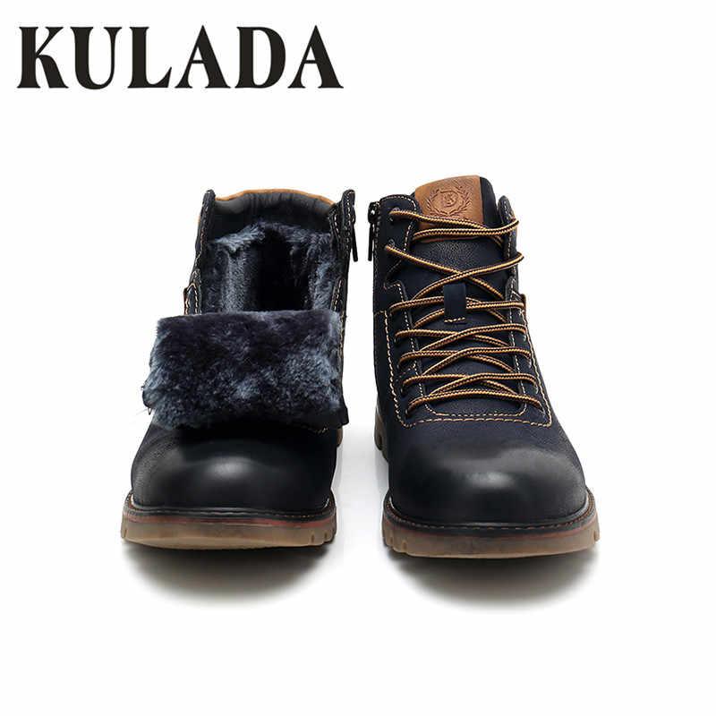 KULADA Top Kwaliteit Laarzen Mannen Sneeuw Enkel Schoenen Warmste Handgemaakte Werken Rits Laarzen Mannen Lace Up Winter Schoenen Hombre