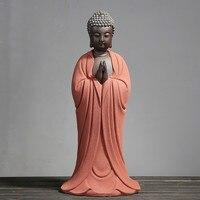 Big Size Purple Sand Buddha Statue Crafts in Tathagata Town Residence Gift packing Living Room Ceramic Zen Decoration Amitabha