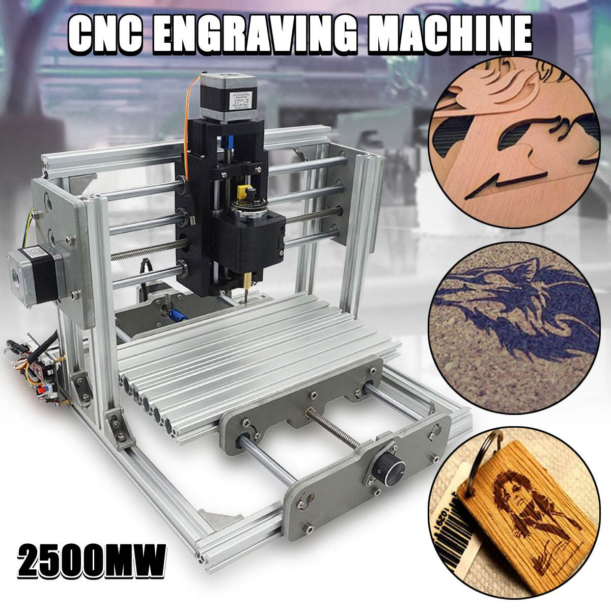 DC 12V 2500MW 3 Axis Mini DIY Desktop CNC Laser Engraver Engraving Machine Milling Carving Cutter Wood Router 0.04MM+ T8 Screws mini engraving machine diy cnc 3040 3axis wood router pcb drilling and milling machine