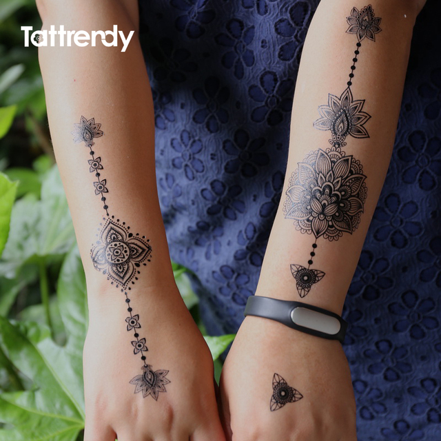 Black Women Henna Temporary Tattoo Stickers Lace Large Indian Flower