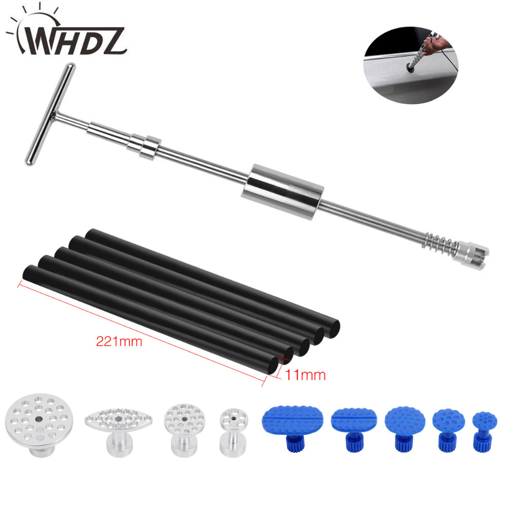 WHDZ PDR Tools Dent Puller 2in1 Slide Hammer Puller Tabs Dent Removal Paintless Dent Repair Tools Suction Cup Hand Tools Kit 2 in one slide hammer dent puller kit newest bridge dent puller lifter pdr paintless dent removal tools 24 pdr pulling tabs