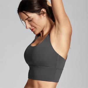 Image 3 - SYROKAN Womens Medium Support Strappy Back Wirefree Removable Cups Longline Yoga Sports Bra