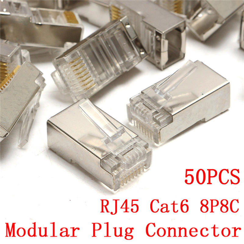 Network Connector RJ45 50Pcs Modular Plug Cat6 8Pin 8P8C Metal Shielded Stranded Crimp Gold Plated Connector Socket
