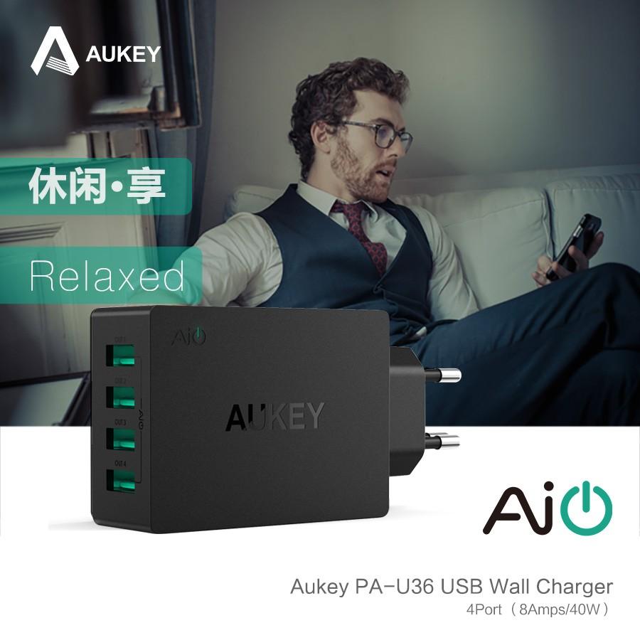 Aukey uniwersalny 4 porty usb ładowarka podróżna ładowarka ścienna adapter do iphone7 samsung s6 smart phones/pc/mp3 i usb urządzeń mobilnych 3