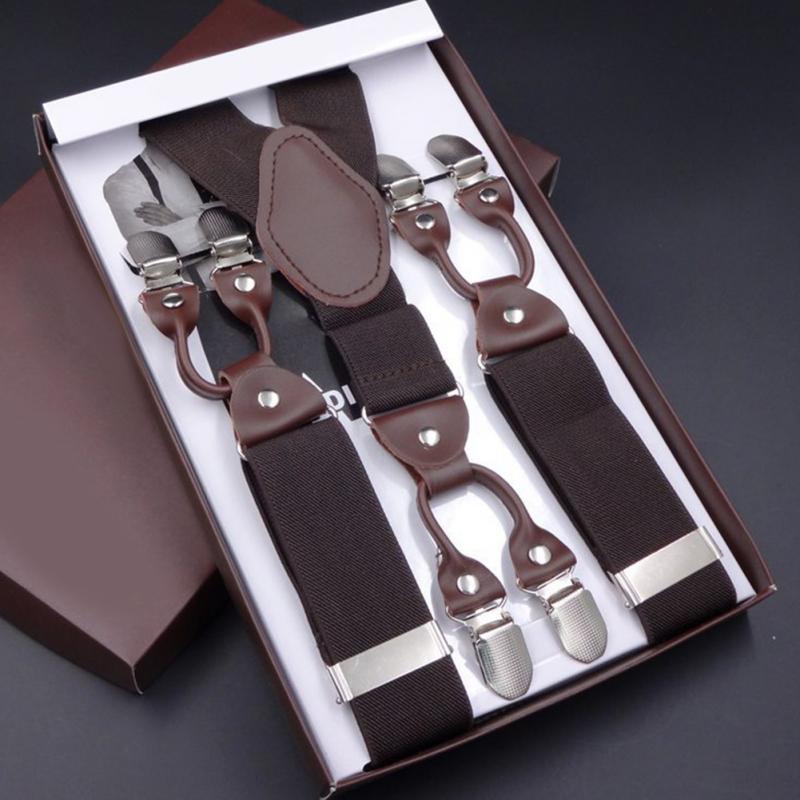 Fashion Men Universal Strap 6 Clips-on Braces Vintage Mens Suspender For Trousers Male Suspensorio Or Skirt 115cm