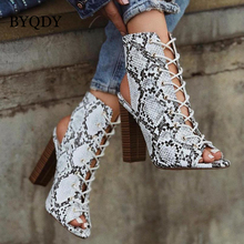 BYQDY Large Size 35-42 Fashion Summer Boots Leopard Snake Print Women Shoes Thick High Heels Peep Toe Ankle Boots Handmade Shoes 2019 handmade genuine leather shoes woman 5cm thick heels women boots martin boots fashion rivets ankle boots large size 42