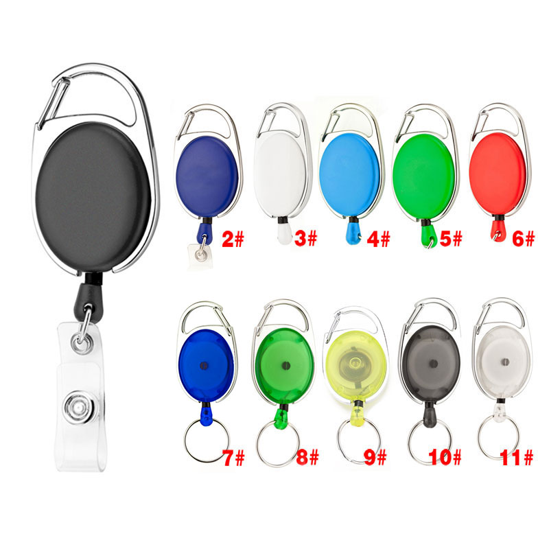 Stainless Steel Zinc Alloy ABS Plastic Retractable Pull Keychain ID Card Lanyard Name Tag Badge Holder Reels Recoil Belt Clips