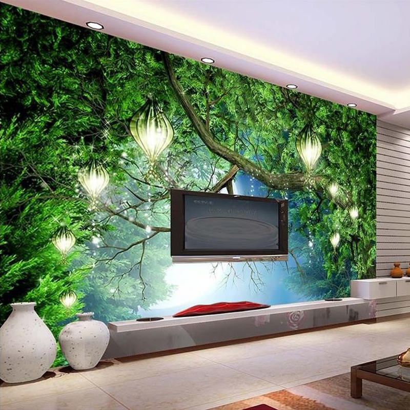 Custom Photo Wallpaper Green Forest 3D Non-woven Large Mural Living Room Bedroom TV Background Wall Decor Wallpaper Murals custom 3d room mural wallpaper non woven wallpaper senery red maple forest photo living room tv backdrop bedroom photo wallpaper