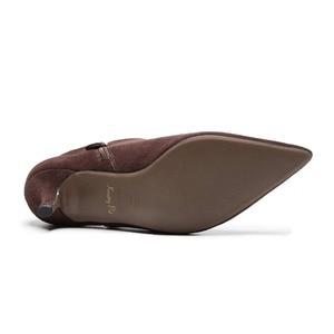 Image 5 - Superstar Botines de piel auténtica con punta en pico para mujer, botines de tacón alto, clásicos de pasarela, para invierno, L97, 2020