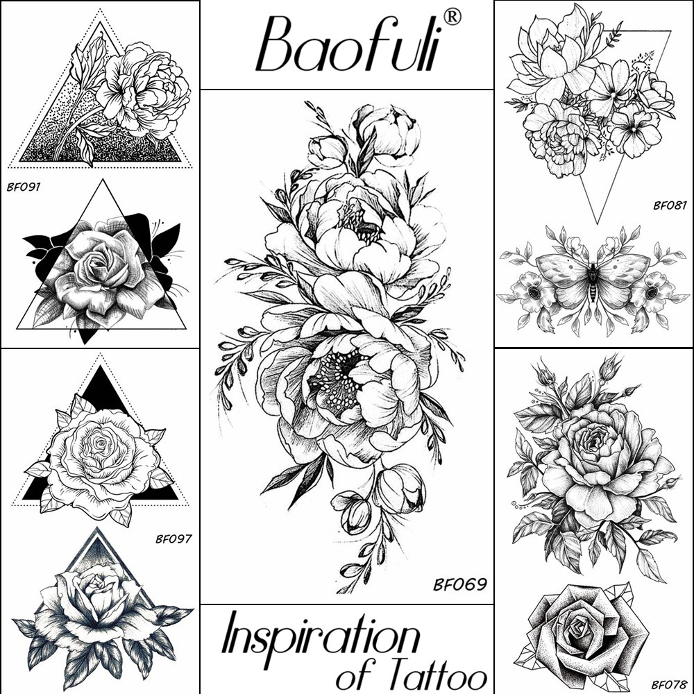 BAOFULI 20 Styles Women Black Flowers Tattoo Transferable Fake 3D Body Art Tatoos Neck Arms Sleeve Rose Temporary Tattoo Sticker image