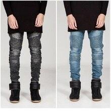 Top quality trendsetter fashion street wear biker jeans personality pleated slim fit little elastic denim jeans for men