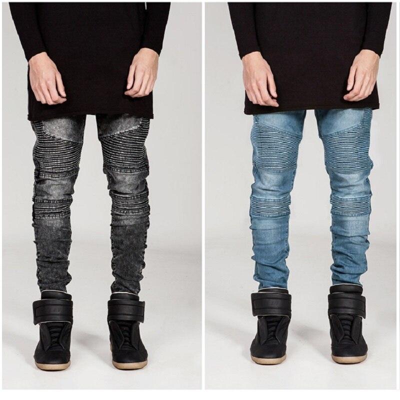 ФОТО Top quality trendsetter fashion street wear biker jeans personality pleated slim fit little elastic denim jeans for men